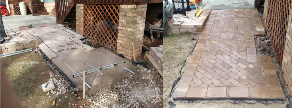 Once the patio was installed, polymeric sand was compacted into the joints.